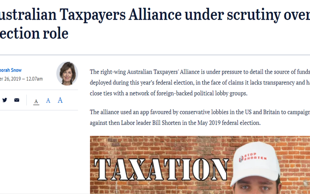 Australian Taxpayers Alliance under scrutiny over election role
