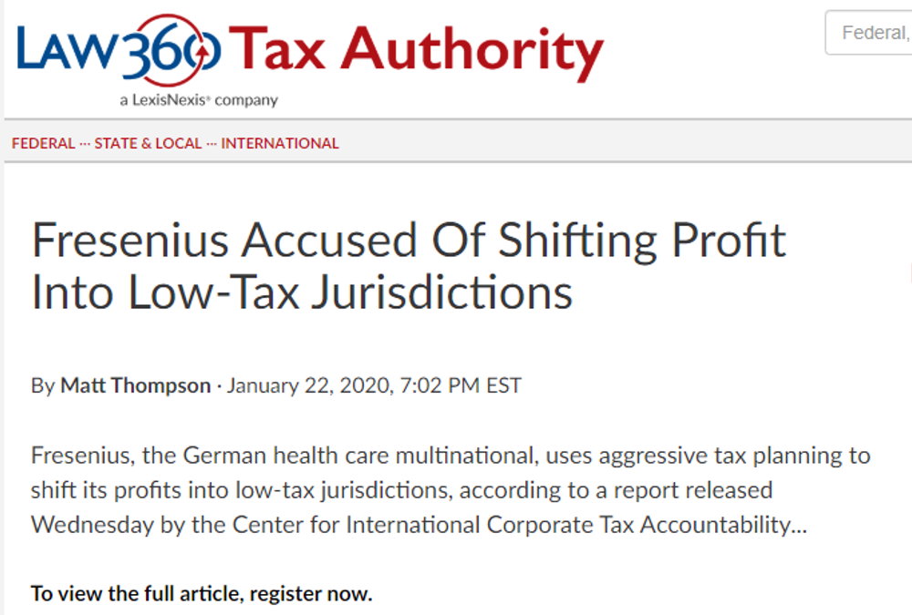 Fresenius Accused Of Shifting Profit Into Low-Tax Jurisdictions